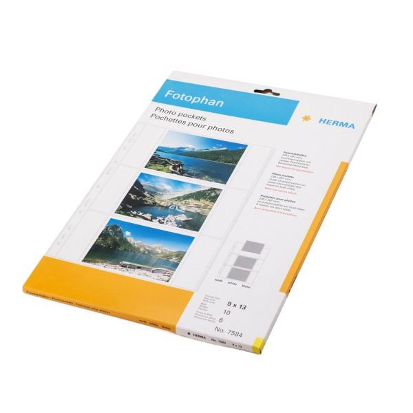 Herma 7584 Fotophan Fotosichthüllen, 10 Blatt, DIN A4, 9x13 cm quer, weiß