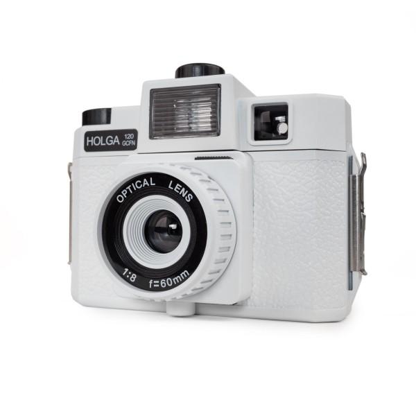 HOLGA 120 GCFN Kamera weiß mit Blitz und Glas Objektiv