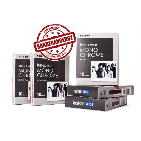 5x Fuji Instax EP Wide Monochrome 10 Blatt - MHD 08/2020