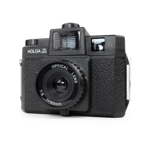 HOLGA 120 GCFN Kamera schwarz mit Blitz und Glas Objektiv