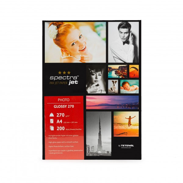 Tetenal SpectraJet Photo Glossy 270g Formatware DIN A4 21x29,7cm 200 Blatt