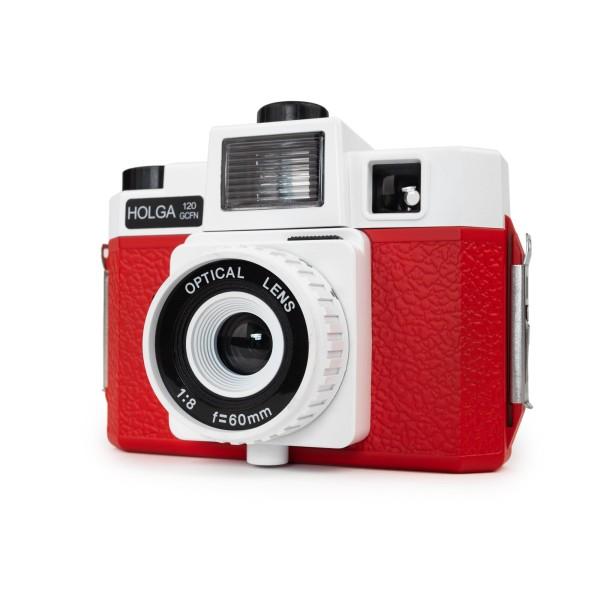 HOLGA 120 GCFN Kamera rot mit Blitz und Glas Objektiv